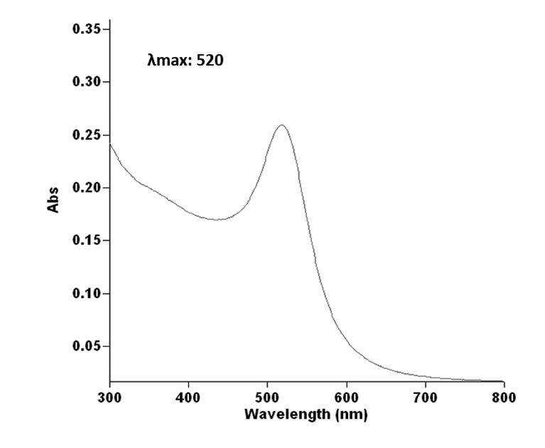 The UV−vis spectrum of spherical colloidal gold nanoparticles is composed of a band around 520 nm.